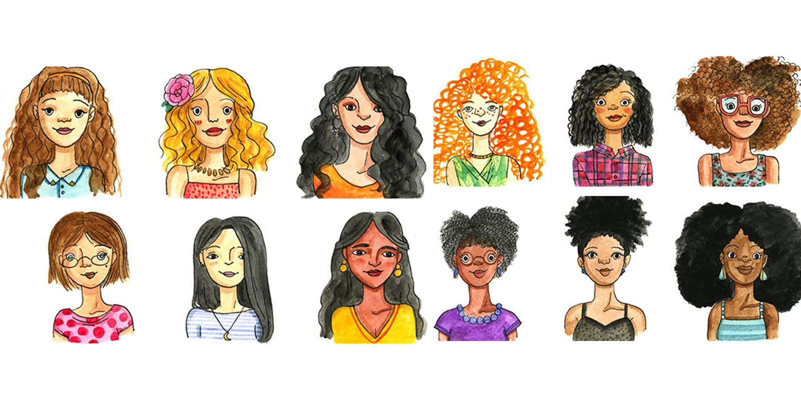 tipi di capelli - illustrazione