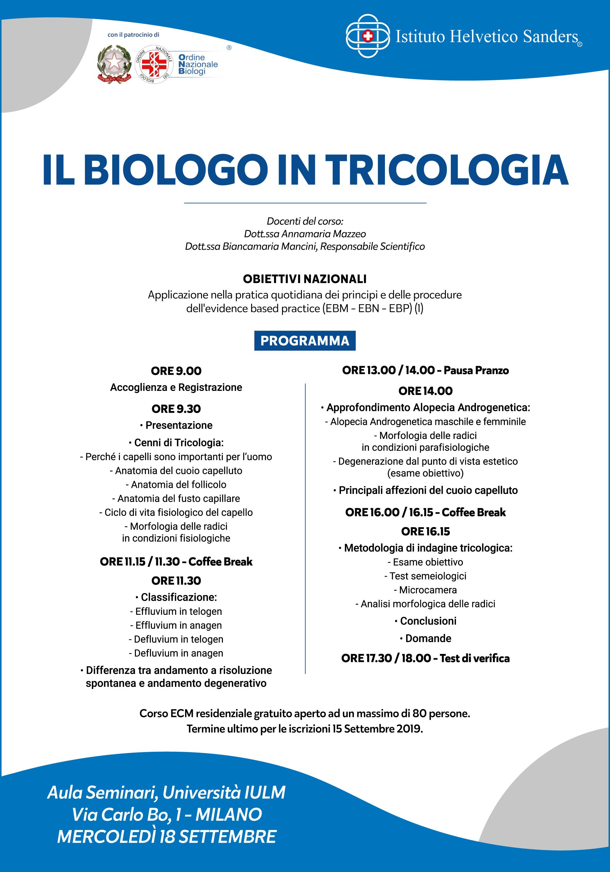 programma corso il biologo in tricologia